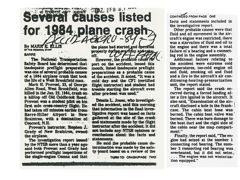 1984 plane crash in Massachusetts